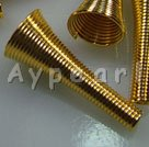 Alloy spring beads, golden,14*26mm spring style horn, Sold per pkg of 10.