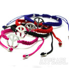 4 Pieces Ball Style Peace Handmade Drawstring Fashion Bracelet( One Piece of Each Color)