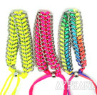 3 Pieces Ball Style Multi Color Double Link Handmade Drawstring Fashion Bracelet( One Piece of Each Color)