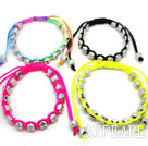 4 Pieces Ball Style Punk Rectangle Rivet Handmade Drawstring Fashion Bracelet( One Piece of Each Color)