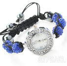 Fashion Style Dark Blue Color Rhinestone Ball Watch Drawstring Bracelet