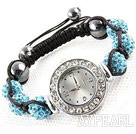 Fashion Style Sky Blue Color Rhinestone Ball Watch Drawstring Bracelet