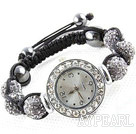 Fashion Style Gray Color Rhinestone Ball Watch Drawstring Bracelet