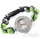 Mote Stil Apple Green Color Rhinestone Ball Watch Snøring armbånd