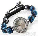 Mote Stil Peacock Blue Color Rhinestone Ball Watch Snøring armbånd