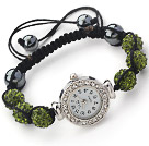 Fashion Style mörkgrön färg STRASS Ball Watch Dragsko Armband