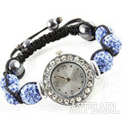Fashion Style Crystal Blue Color Rhinestone Ball Watch Drawstring Bracelet