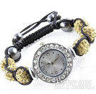 Fashion Style Cristal Strass Couleur Jaune Ball Watch Bracelet cordon