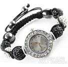 Fashion Style Black and White Color Rhinestone Ball Watch Drawstring Bracelet