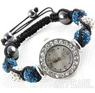 Fashion Style Vit och Peacock Blue Color STRASS Ball Watch Drawstring Armband