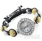 Fashion Style Vit och Crystal Gul Färg STRASS Ball Watch Dragsko Armband