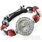 Wholesale Fashion Style White and Red Color Rhinestone Ball Watch Drawstring Bracelet