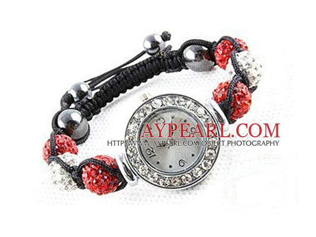 Fashion Style White and Red Color Rhinestone Ball Watch Drawstring Bracelet