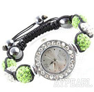 Wholesale Fashion Style White and Apple Green Color Rhinestone Ball Watch Drawstring Bracelet