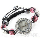 Fashion Style blanc et rose Couleur strass Boule Bracelet cordon Regarder