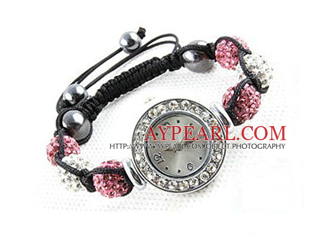 Fashion Style White and Pink Color Rhinestone Ball Watch Drawstring Bracelet