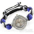 Fashion Style White and Dark Blue Color Rhinestone Ball Watch Drawstring Bracelet