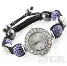 Fashion Style White and Purple Color Rhinestone Ball Watch Drawstring Bracelet