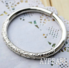 Handmade 999 Sterling Silver Bangle Bracelet (Flower Pattern Style)