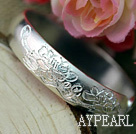 Bold Style Handmade Flower Pattern 999 Sterling Silver Bangle Bracelet