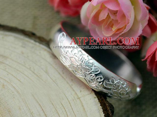 Bold Style Handmade Flower Pattern 999 Sterling Silver Bangle Bracelet