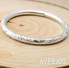 Classique main Conception 999 Sterling Silver Bangle Bracelet avec motif Pivoine