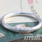 Wholesale Classic Design Handmade 999 Sterling Silver Thin Bangle Bracelet with Lotus Pattern
