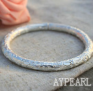 Wholesale Classic Design Handmade 999 Sterling Silver Thin Bangle Bracelet with Flower Pattern
