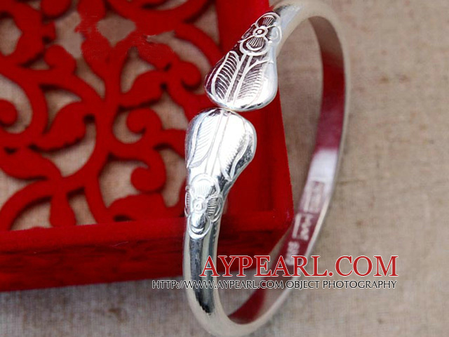 Handmade 999 Sterling Silver Thin Bangle Bracelet with Flower Pattern