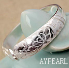 Large Handmade style 999 Sterling Silver Bangle Bracelet avec motif Lotus