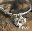 Wholesale Handmade 999 Sterling Silver Bangle Bracelet with Double Fish Pattern and Accessories