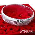 Bold Style Handmade 999 Sterling Silver Bangle Bracelet with Phoenix Pattern