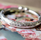 Wholesale Handmade 999 Sterling Silver Bangle Bracelet with Tree Peony Pattern