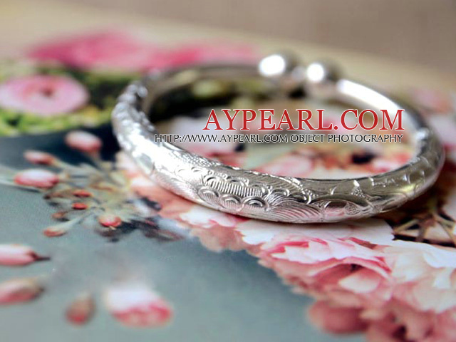 Handmade 999 Sterling Silver Bangle Bracelet with Tree Peony Pattern