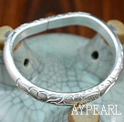 Horse's Hoof Shape Handmade 999 Sterling Silver Bangle Bracelet with Tree Peony Pattern and