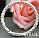 Wholesale Handmade 999 Sterling Silver Thin Bangle Bracelet with Flower Pattern
