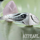Wholesale Handmade 999 Sterling Silver Double Fish Bangle Bracelet