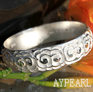 Fet stil Handgjorda 999 Sterling Silver Bangle Armband med Cloud mönster