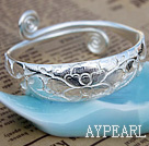Handmade 999 Sterling Silver Adjustable Bangle Bracelet with Tree Peony