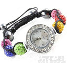 Mote Stil Multi Color Rhinestone Ball Watch Snøring armbånd