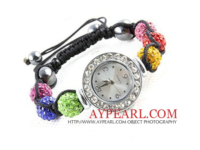Fashion Style Multi Color Rhinestone Ball Watch Drawstring Bracelet