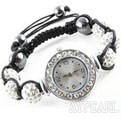 Fashion Style Vit STRASS Ball Watch Drawstring Armband