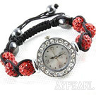 Fashion Style Röd STRASS Ball Watch Dragsko Armband