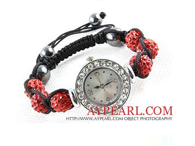 Fashion Style Red Rhinestone Ball Watch Drawstring Bracelet