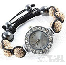 Fashion Style Champagne Color Rhinestone Ball Watch Drawstring Bracelet
