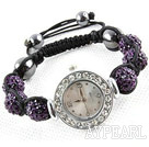 Fashion Style Dark Purple tekojalokivi Ball Watch Kiristin rannerengas