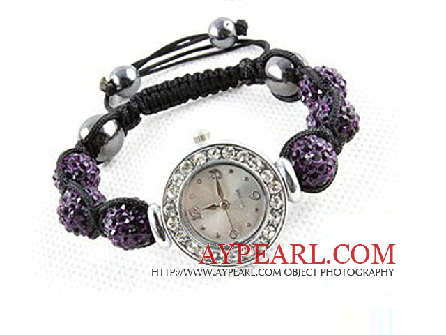 Fashion Style Dark Purple Rhinestone Ball Watch Drawstring Bracelet