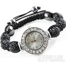 Discount Fashion Style Black Rhinestone Ball Watch Drawstring Bracelet
