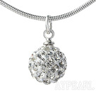 Simple Design Fashion Style White Rhinestone Ball Pendant Necklace with Metal Chain