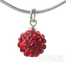 Simple Design Fashion Style Red Rhinestone Ball Pendant Necklace with Metal Chain